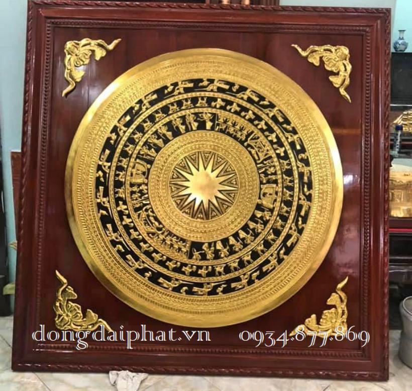 Bán tranh mặt trống đồng dát vàng 9999 tại sài gòn