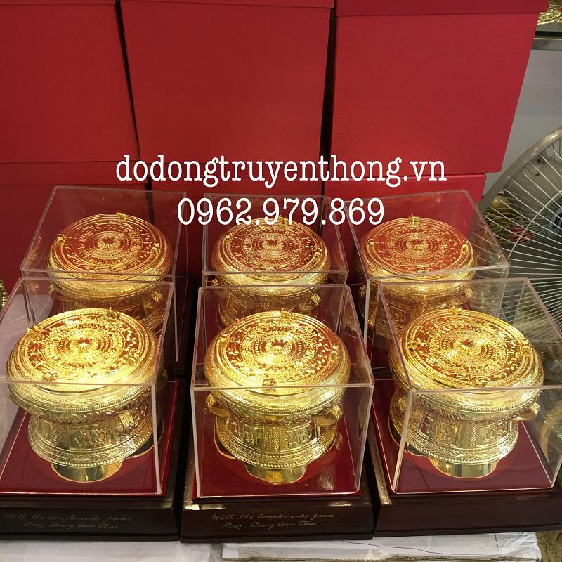 trống đồng mạ vàng 24k tặng bạn bè uy tín