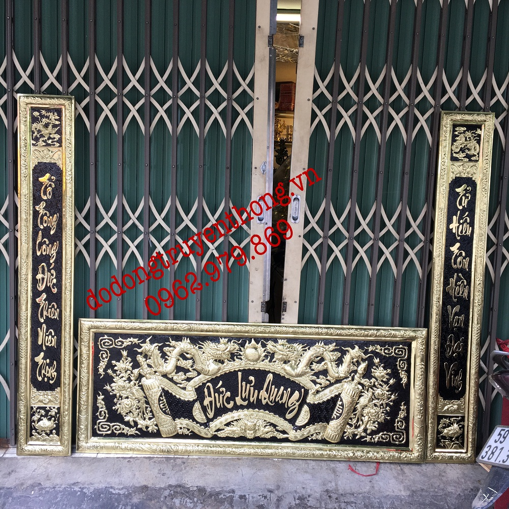 bộ đại tự chữ đức lưu quang bằng đồng treo bàn thờ gia tiên 1,55m