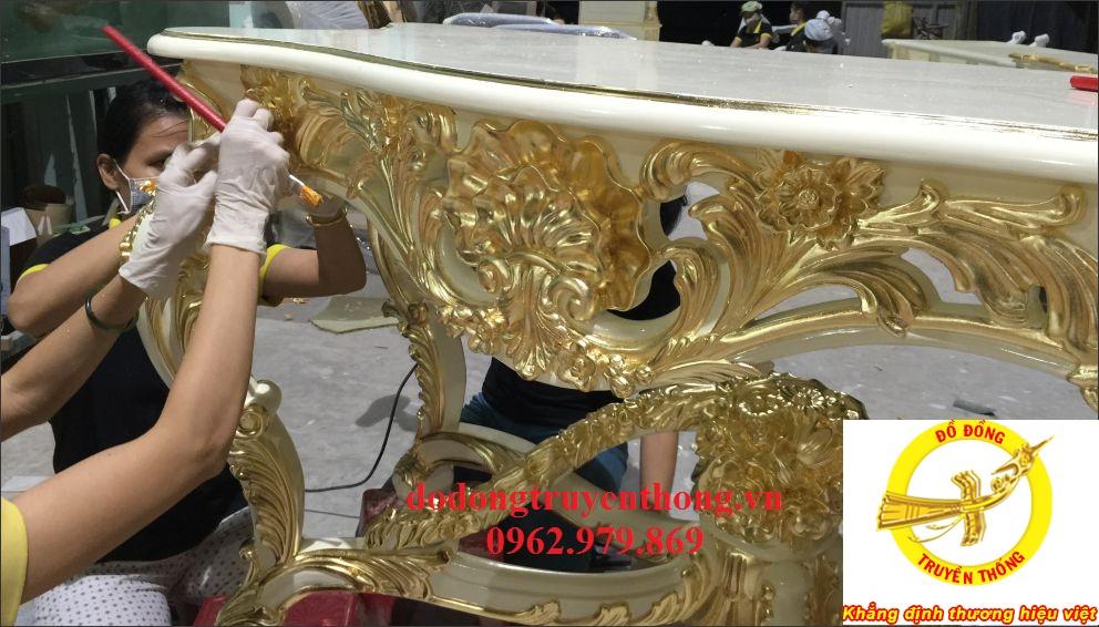 nhận thi công dát vàng bàn ghế uy tín chất lượng