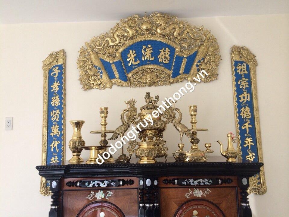 giá bộ đức lư quang hán nôm thờ gia tiên làm bằng đồng nguyên chất