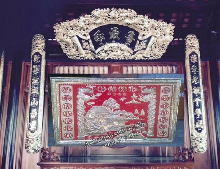 hoành phi thờ cúng bằng đồng treo bàn thờ cha mẹ