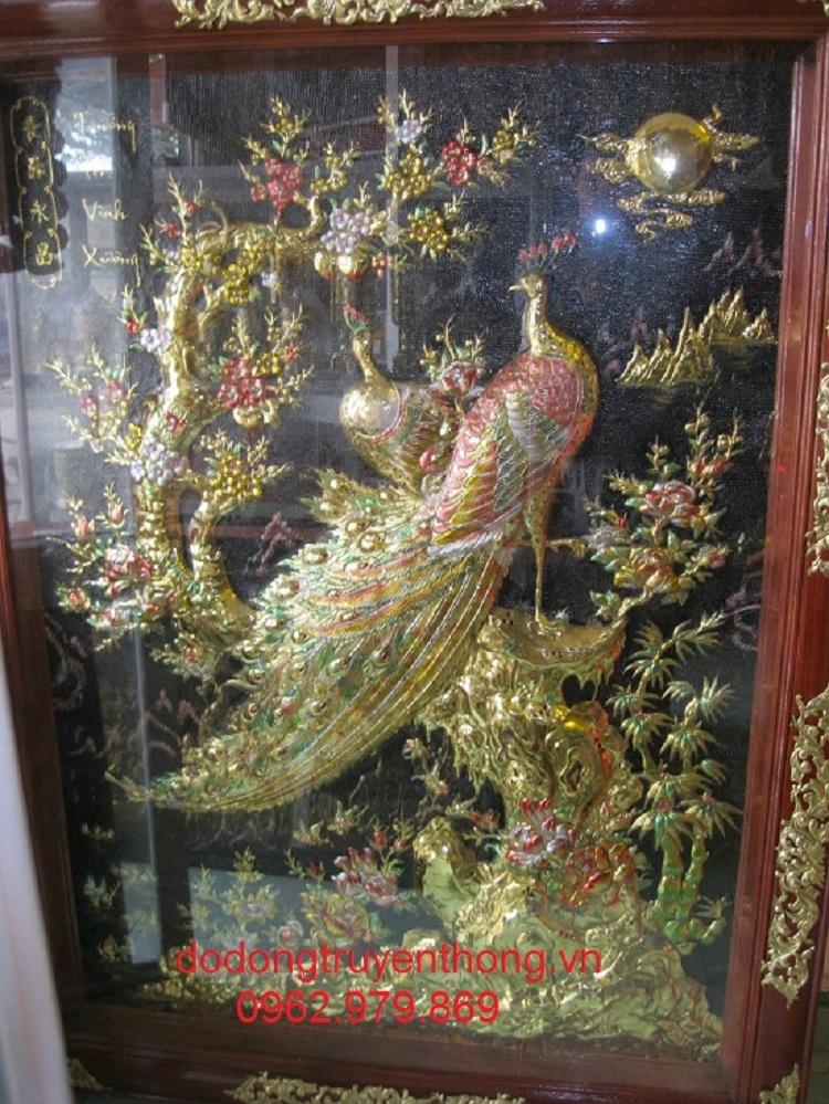 tranh đồng mai công được làm bằng tay bán tại hà nội uy tín sắc nét