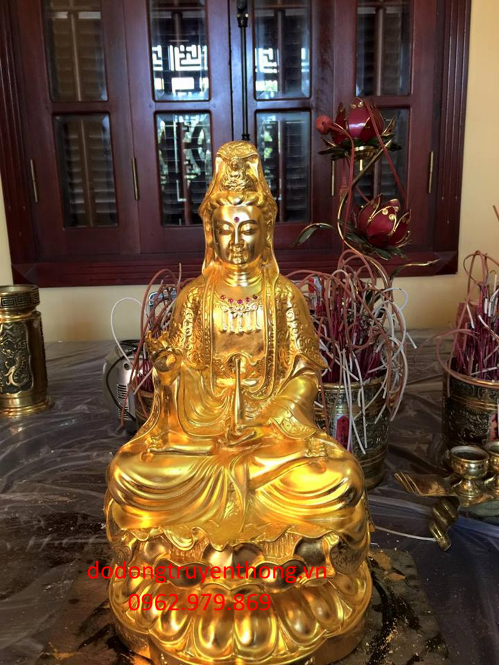 Nhận dát vàng tượng phật bà bằng vàng lá 24 k chuẩn tại hà nội